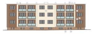 Barevný návrh zateplené fasády - hnědookrový