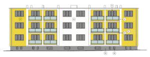 Barevný návrh zateplené fasády - žlutobílý
