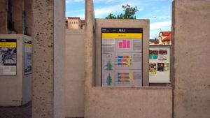 Panelový dům: Pohled na výstavní panely, které obsahují i přehledné statistiky o obyvatelstvu sídlišť.