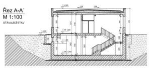 Řez budovou - stávající stav