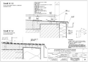 Projekt zateplení bytového domu - detail odvodnění terasy