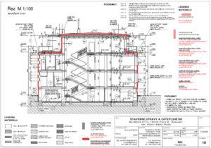 Svislý řez domem s vyznačenými upravovanými konstrukcemi